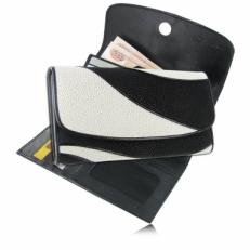 Женский кошелек из кожи ската, цвет: черно-белый