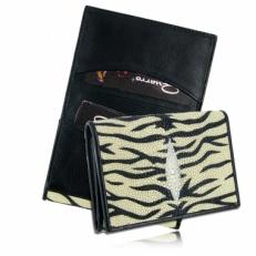 Визитница для своих визиток из кожи ската, цвет: бежевый тигр