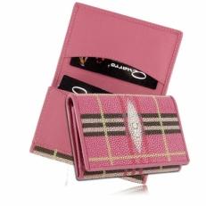 Визитница для своих визиток из кожи ската, цвет: розовый в клетку