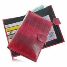 Портмоне для документов из кожи змеи, цвет: красный