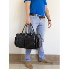 Кожаная дорожная сумка Буфалоро черная