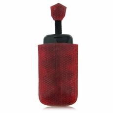 Чехол для мобильного телефона из кожи морской змеи, цвет: красный с натуральным рисунком