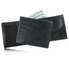Мужской кошелек из кожи каймана (брюшная часть), цвет: черный матовый