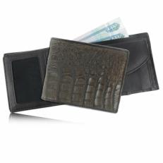 Мужской кошелек из кожи каймана (брюшная часть), цвет: темно-коричневый