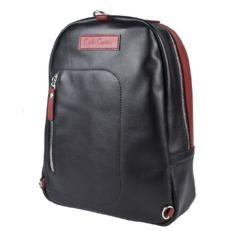 Кожаный рюкзак Альбера черный с красным