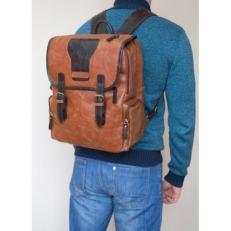 Кожаный рюкзак Сантерно рыжий фото-2