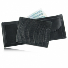Мужской кошелек из кожи каймана (спинная часть), цвет: черный матовый