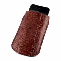 Чехол для iPhone из кожи ноги страуса, цвет: темно-коричневый