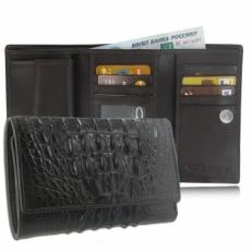 Мужской кошелек из кожи крокодила, цвет: шоколад