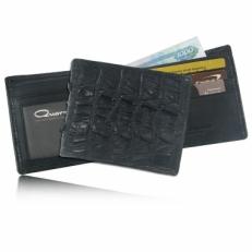 Мужской бумажник из кожи крокодила, цвет: черный