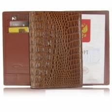 Обложка для паспорта из кожи крокодила, цвет: светло-коричневый