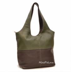 Вместительная мягкая сумка женская 3051 оливково- коричневая
