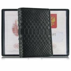Обложка для паспорта из кожи питона, брюшная часть, цвет: черный матовый