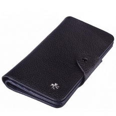 Кожаное портмоне 9650 N.Polo Black/D.Blue