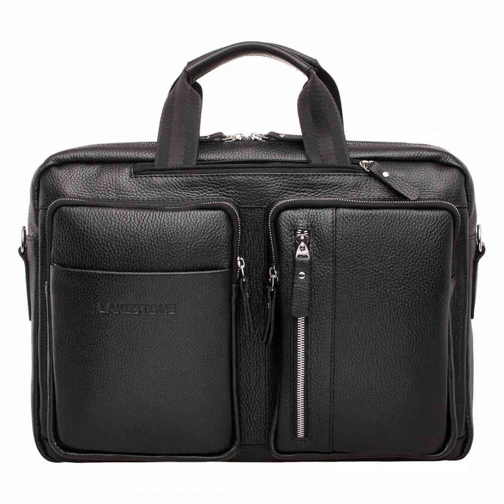 Кожаная сумка портфель Edmund черная