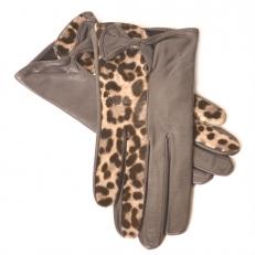 Красивые женские перчатки со вставкой из натурального меха