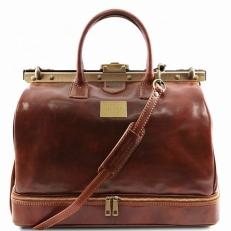 BARCELLONA - Дорожная кожаная сумка с рамочным замком