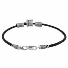 Мужской браслет из серебра и кожи фото-2