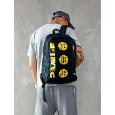 Черный рюкзак пиксельный Hello World BY-BB008