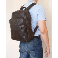 Кожаный рюкзак с кармнами Монферрато коричневый