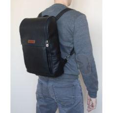 Большой кожаный рюкзак Туфетто черный фото-2