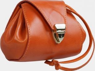 Кожаная косметичка оранжевая фото-2
