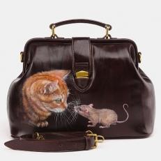 Женская кожаная сумка саквояж W0023