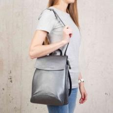 Сумка-рюкзак из серебристой кожи Ashley Silver Grey