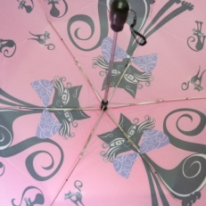 "Женский зонт Ame Yoke ""Кошка"" розовый фото-2"
