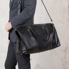 Дорожная кожаная сумка Olympus Black фото-2