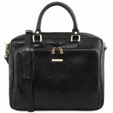 Pisa - Черный кожаный портфель для ноутбука