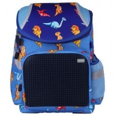 Детский пиксельный рюкзак с динозавриками A-019 синий