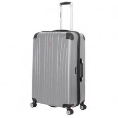 Большой серый пластиковый чемодан Ridge