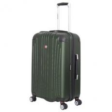 Зеленый пластковый чемодан среднего размера Ridge
