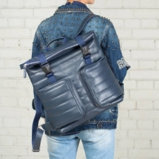 Кожаный синий рюкзак Parson фото-2