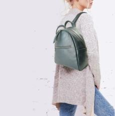 Кожаный рюкзак синий 5015