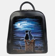 Черный рюкзак с котиками