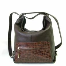 Кожаная сумка-рюкзак KSK 5007 зеленая