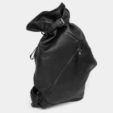 Рюкзак-мешок кожаный черный R0003