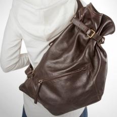 Рюкзак-мешок кожаный черный R0003 фото-2