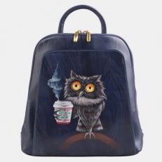 """Кожаный рюкзак с рисунком """"Утренняя сова"""""""