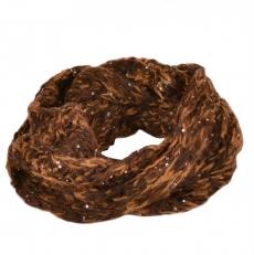 Шарф снуд коричневый с пайетками 100