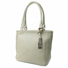 Кожаная летняя сумка женская 3202 бежевая