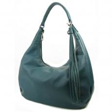 Красивая кожаная сумка женская цвет океан 3367