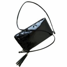 Мини сумка черный лак 8408 фото-2