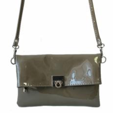 Мини сумка серый лак 8501