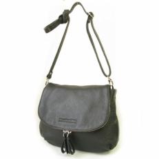 Кожаная сумка женская с клапаном черная 401.4