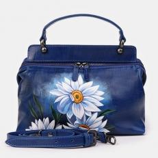 """Кожаная сумка с крупными цветами """"Ромашки"""""""