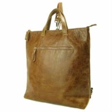 Рыжий кожаный рюкзак трансформер 5515