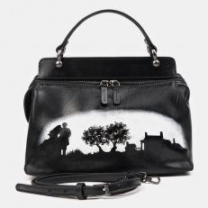 Черно-белая сумка через плечо с росписью